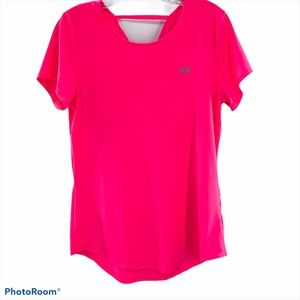 UNDER ARMOUR   Neon Pink Open Back T-Shirt